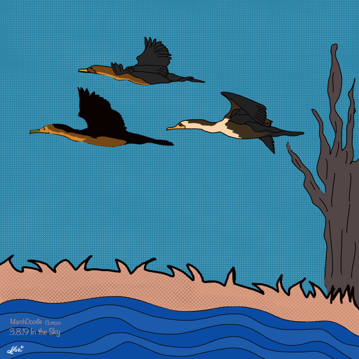 cormorants in the sky MarchDoodle
