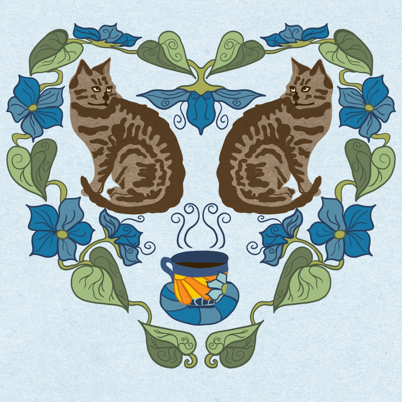 Coffee_And_Cats_Brown_Blue10x10